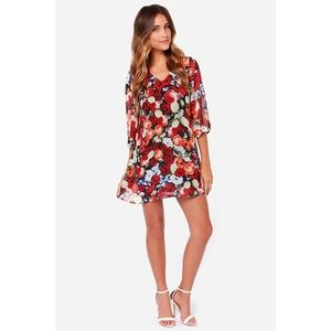 LULUS Ta-Rose Cards Red Floral Print Shift Dress